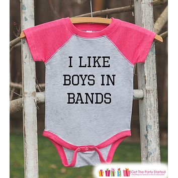 Girls Band Shirt - I Like Boys in Bands - Girl Onepiece or T-shirt - Funny Concert Shirt - Kids, Toddler, Youth Pink Raglan Gift Idea