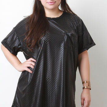 Eyelet Vegan Leather Shift Dress