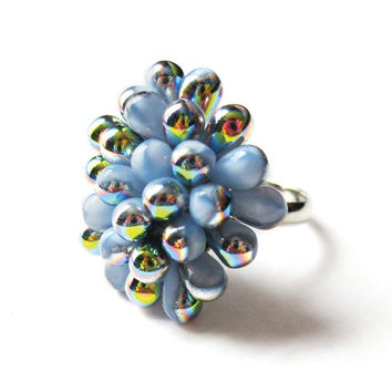Rainbow & Hydrangea Berry ring - Limited Edition - Only 1 available - Cocktail clustered ring, statement ring, bubble ring, expandable ring