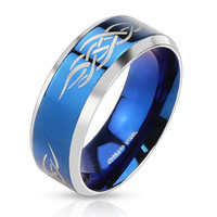 Blue Tribal Shaman - FINAL SALE Polished blue IP and silver stainless steel men's ring with fire tribal inlay