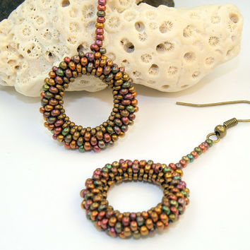 Tubular peyote stitch drop earrings, handmade seed bead woven dangle earrings, OOAK  design