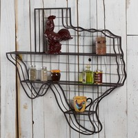 Metal Texas Map Wall Shelf