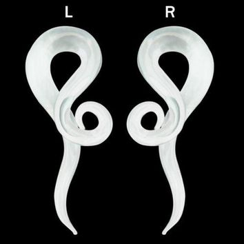 """PAIR-Tapers Twist Pyrex Glass Translucent Clear 11mm/7/16"""" Gauge Body Jewelry"""