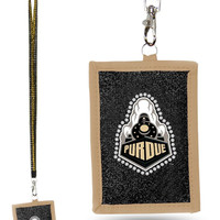 Purdue Boilermakers Beaded Lanyard Wallet