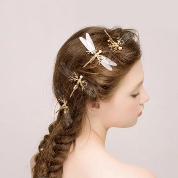 transparent bridal hairpin wedding hair pins gold girls bride dragonfly hair clips pearl headdress butterfly hair accessories