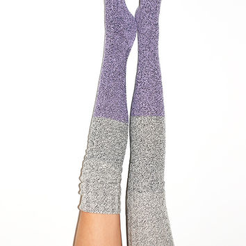 Orchid Color Block Marled Cable Knit Thigh High Socks