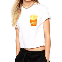 Chips Print Short Sleeve Cropped Top