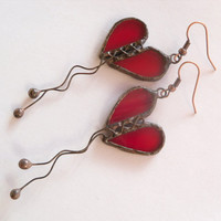 Heart earrings stained glass copper wire jewelry red dangle earrings Love