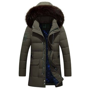 Winter Warm Hooded Jackets Men Casual White Duck Down Coats & Jackets Faux Fur Hat Thicken Outwear Solid Parkas Plus Size M-3XL