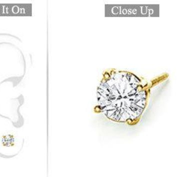 Mens 14K Yellow Gold : Round Diamond Stud Earring - 0.75 CT. TW.