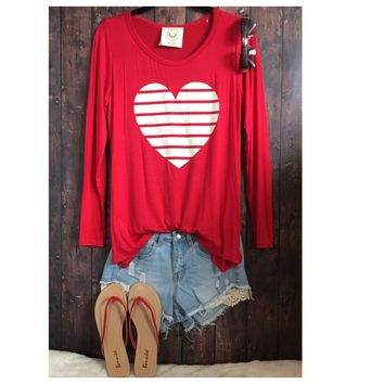 Adorable Me, Scoop Neck Striped Heart Red Top