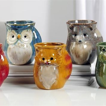 Ceramic Right or Left Hand Warmer Mug in Various Animal Designs (Cat, Left-Handed)