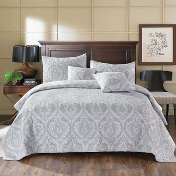 Tache 2-3 Piece Matelasse Floral Austere Light Grey Moon Bedspread Set (TATB300-199)