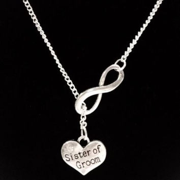 Infinity Sister Of The Groom Gift Wedding Party Bridal Y Lariat Style Necklace
