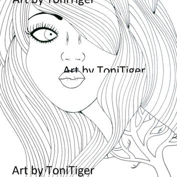 Instant Digital Download Coloring Page Girl with the Tree Tattoo