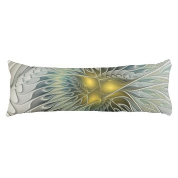 Golden Silver Flower Fantasy abstract Fractal Art Body Pillow