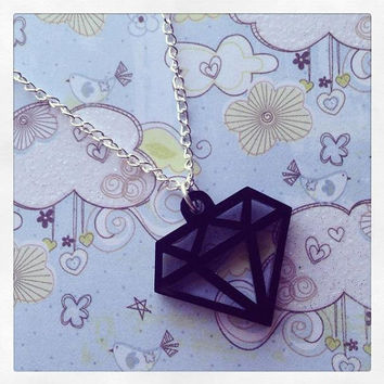 Black Diamond Laser Cut Acrylic Necklace Cute Handmade Jewellery