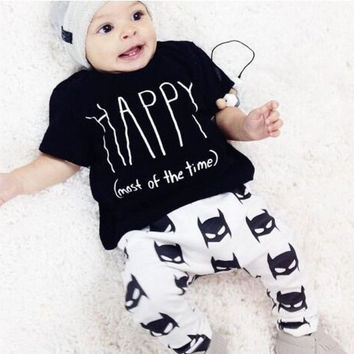 Happy Toddler Newborn Baby Boy Clothes T-shirt Batman Pants Outfits Set 0~24Mths