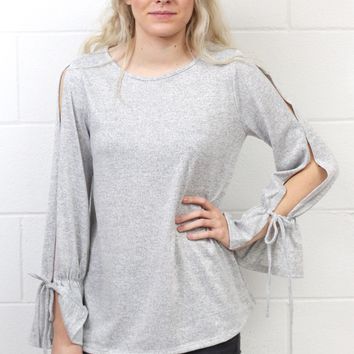 Cozy Heathered Open Sleeve Hacci Sweater {H. Grey}