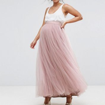 Little Mistress Maternity Maxi Tulle Skirt at asos.com
