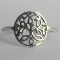 Celtic Sterling Silver Tree of Life Ring, Yggdrasil, Sacred Viking symbol, Nordic mythology Wold Tree, Divine Tree of the Cosmos