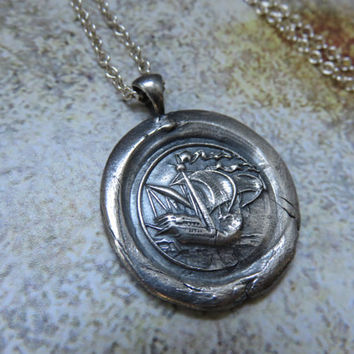 Galleon Ship Pure Silver Antique Wax Seal and Sterling Silver Necklace ~ Nautical. Boat. Historical.