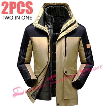 Thickening Winter Jacket Men/Male Warm Down Parka Coat Jacket+Liner 2PCS Windbreaker Waterproof Windproof Brand-Clothing 5XL 6XL