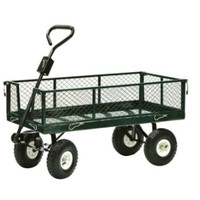 Precision Steel Drop Side Garden Cart 600 lb. Wheelbarrow Yard Wagon Cart