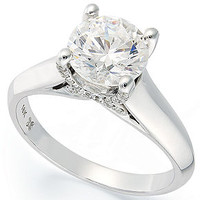 X3 Diamond Ring, 18k White Gold Certified Diamond Solitare Engagement Ring (1-1/2 ct. t.w.) - Rings - Jewelry & Watches - Macy's