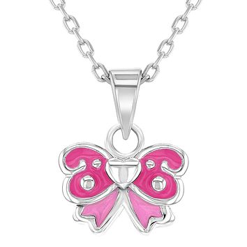 925 Sterling Silver Pink Enamel Bow Necklace Pendant for Toddlers or Girls 16""