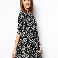 ASOS Swing Dress in Daisy with Half Sleeve