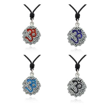 Classy Hindu Symbol Silver Pewter Charm Necklace Pendant Jewelry With Cotton Cord