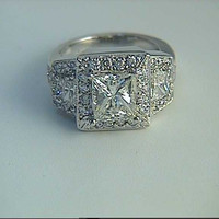2.29ct Princess Diamond Engagement Ring 18kt White Gold JEWELFORME  BLUE