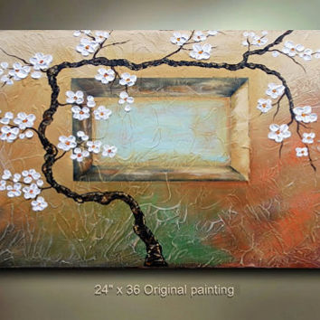 ORIGINAL Abstract Painting Art Landscape tree by tjenkinsarts