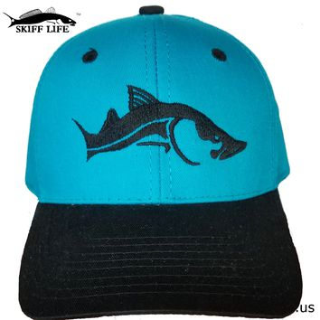 Turquoise Hat with Black Snook Fishing Hat by Skiff Life