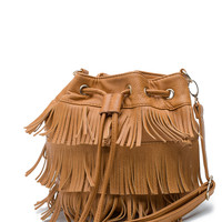 Tasseled + Layered Fringe Bucket Bag