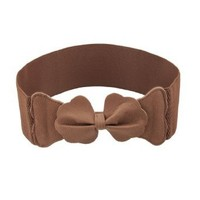 Faux Leather Bowknot Detail Brown 7.5CM Wide Stretch Cinch Belt for Lady