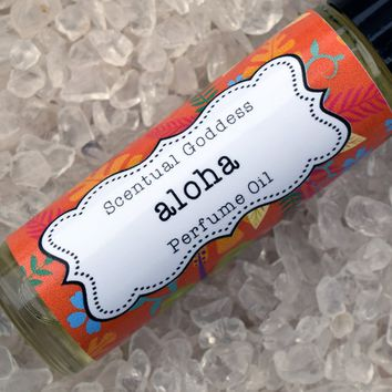 ALOHA Hawaiian Floral Perfume Oil - Handmade Roll On Tropical Florals Scented Perfume
