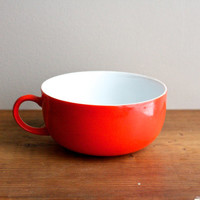 Poppy Red Bowl With Handle // Vintage Cereal or Soup Bowl // White Interior Glass Bowl // Red Orange Bowl
