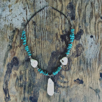 "Turquoise and""Watseka"" White Buffalo Pendant"