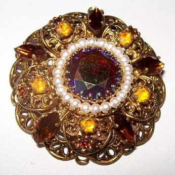 "West Germany Brooch Pin Topaz Citrine Rhinestones & Seed Pearls Filigree Gold Metal 2"" Vintage"