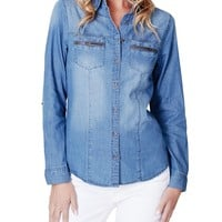 LE3NO Womens Lightweight Distressed Button Down Denim Shirt with Pockets