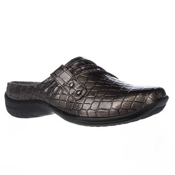 Easy Street Holly Comfort Mules, Pewter Croc, 5 US