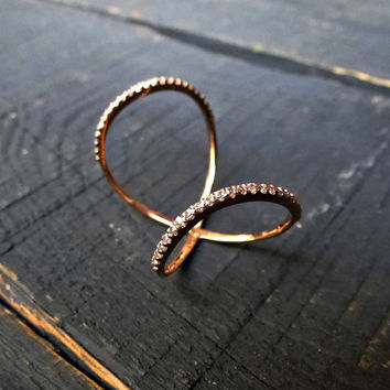14K Solid Gold Double Ring, Twisted Circle Ring w Clear or Black Cubic zirconia, Double Gold Ring