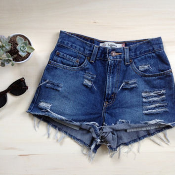 ALL SIZES Levis High Waisted Distressed Cheeky Cutoff Denim Shorts