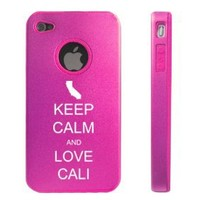 Apple iPhone 4 4S Hot Pink D7036 Aluminum & Silicone Case Cover Keep Calm and Love Cali California