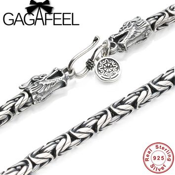 GAGAFEEL 100% Real 925 Sterling Silver Necklace Brand Thick Chain Thai Silver Vintage Long Dargon Men necklace N003