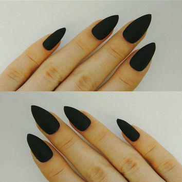 Pick Colour Matte Stiletto False Nails Press-On Full Cover Made in UK Handmade Pointy Nails