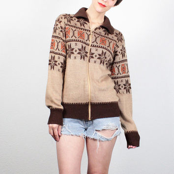 Vintage 1970s Sweater Tan Brown Orange Nordic Sweater Hippie Sweater Track Jacket Cardigan Boho Jumper 70s Knit Grandpa Sweater S M Medium