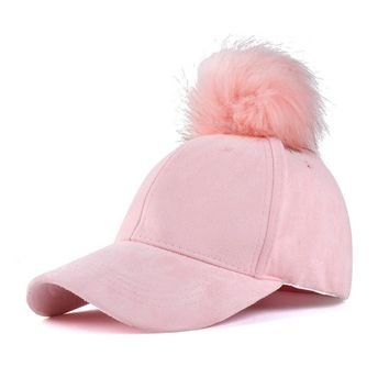 Fashion Women Faux Fox Fur Pompom Baseball Cap Fur Ball Suede Adjustable Baseball Cap Hip-Hop Hat Fur Pompons Bone Bonnet Gorro
